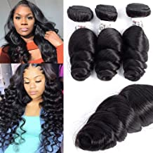 Anknia Brazilian Virgin Hair Loose Wave 3 Bundles Deals Good Cheap Mink Unprocessed Wet And Wavy Human Hair Bundles Weave Wefts Remy Hair Extensions Natural Black Color 12 14 16 Inch