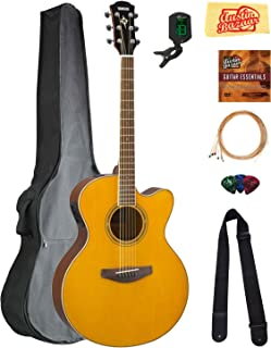 Yamaha CPX600 Acoustic-Electric Guitar - Vintage Tint Bundle with Gig Bag, Tuner, Strings, Strap, Picks, Austin Bazaar Instructional DVD, and Polishing Cloth