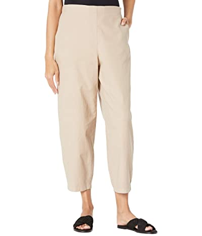 Eileen Fisher Organic Cotton Hemp Stretch Ankle Lantern Pants (Khaki) Women