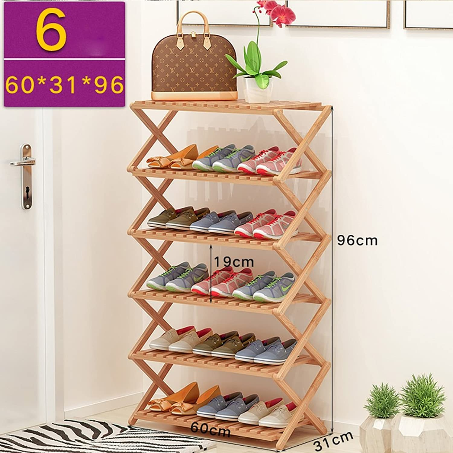 shoes Bench Organizing Rack shoes Storage Rack, Folding shoes Rack, Natural Bamboo shoes Cabinet, Multi-Functional six-Shelf, (Size   60cm)