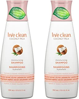 Live Clean Coconut Milk Moisturizing Shampoo (Pack of 2) with Certified Organic Coconut Extract and Oil, Petrolatum-free, Phthalate-free and Paraben-free, 12 oz