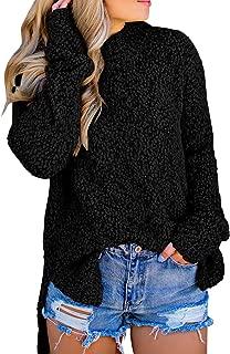 Ybenlow Womens Fuzzy Sweaters Sherpa Fleece Side Slit Long Sleeve Pullover Knit Jumper Slouchy Tunic Tops Outwear