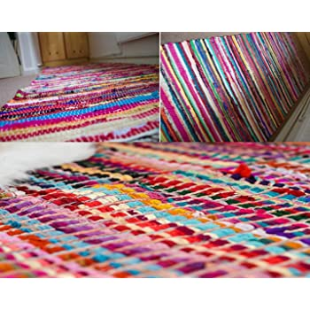LARGE CHINDI RAG RUG HAND LOOMED INDIAN FAIR TRADE RECYCLED WOVEN RED MAT 3*6 F