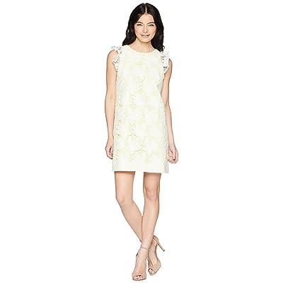 Tahari by ASL Petite Ruffle Sleeve Novelty Sheath Dress (White/Lemon) Women