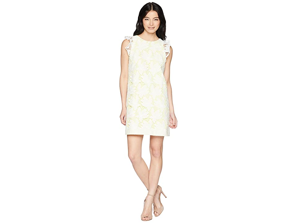 Tahari by ASL Petite Ruffle Sleeve Novelty Sheath Dress (White/Lemon) Women