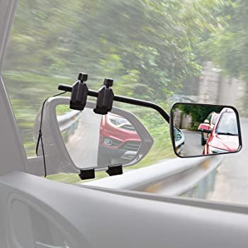 Homeon Wheels Adjustable Towing Mirrors Universal Extended Convex Mirror Clip Notice Applicable Vehicle Rearview Mirror is 0.59 inches Between Lens and Frame 1 Pack
