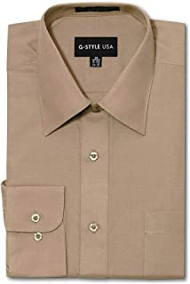 G-Style USA Men's Regular Fit Long Sleeve Solid Color Dress Shirts - Beige - X-Large - 32-33