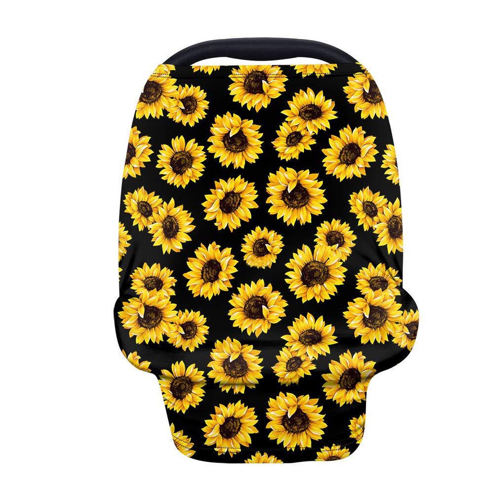 INSTANTARTS Sunflowers Baby Infant Carseat Canopy Nursing Covers,Soft Breathable Stretchy Baby Stroller Cover Multi-use,Infant Carsear Canopy/Stroller Covers/Nursing Breastfeeding Cover