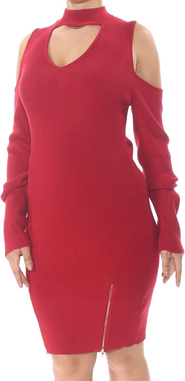 Material Girl Women's Zipper Hem Choker Sweater Dress