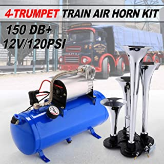 Juane 150DB Train Air Horn Kit for Trucks, 4 Trumpet Super Loud Air Horn with 120PSI 12V Compressor and Gauge for Car Train Van Boat Trucks SUV Vehicle Advanced Technology, Easy to Connect (Blue-New)