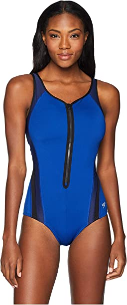 Plunge Zip Contour Swimsuit