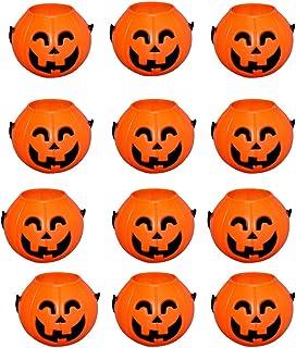 Wiwaplex Pumpkin Candy Bucket, 12 Pack Plastic Pumpkin Candy Holder, Halloween Mini Pumpkins Trick or Treat Bags Baskets, ...