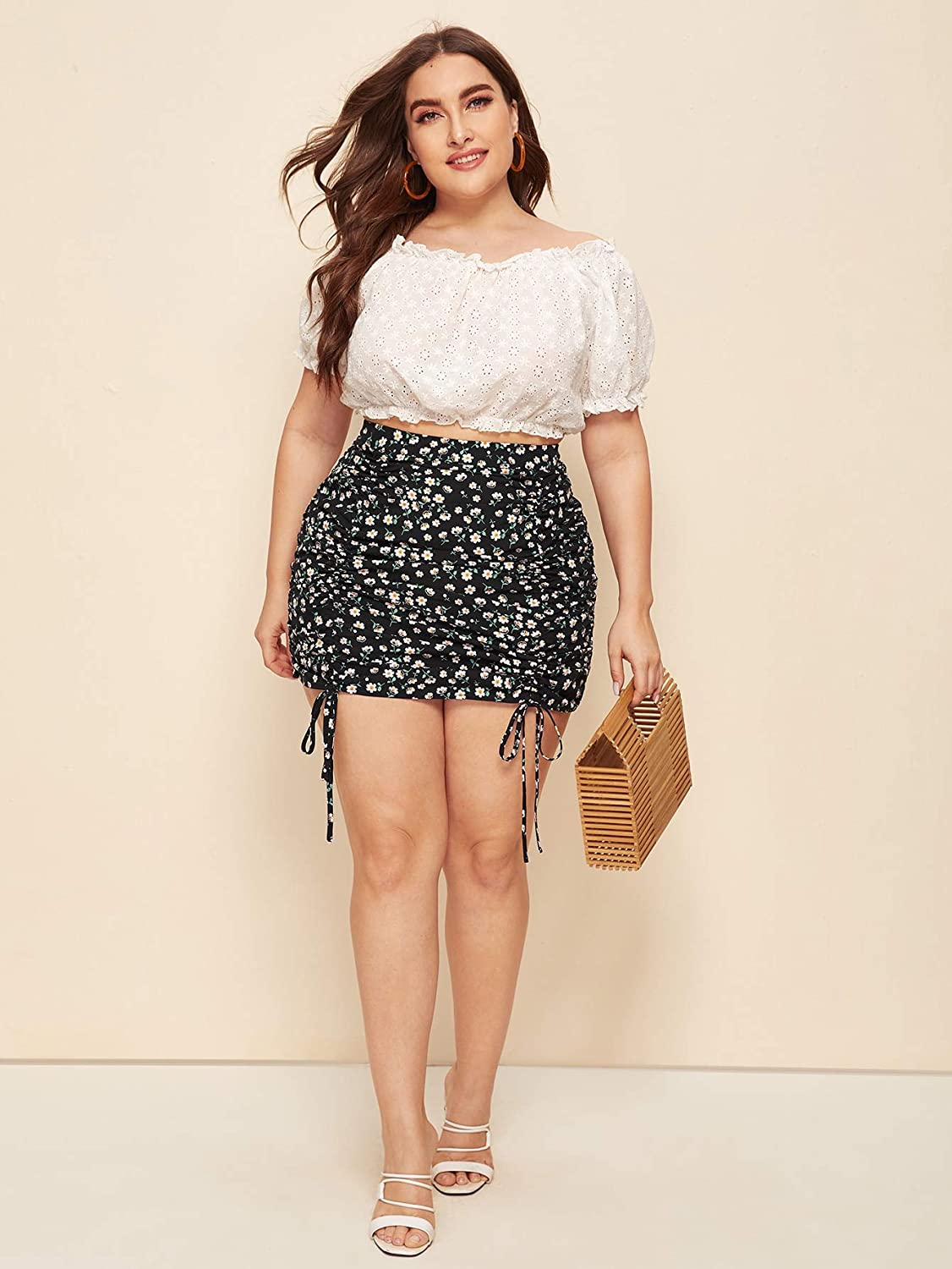 Floerns Women's Plus Size Drawstring Ruched Front Floral Bodycon Mini Skirt