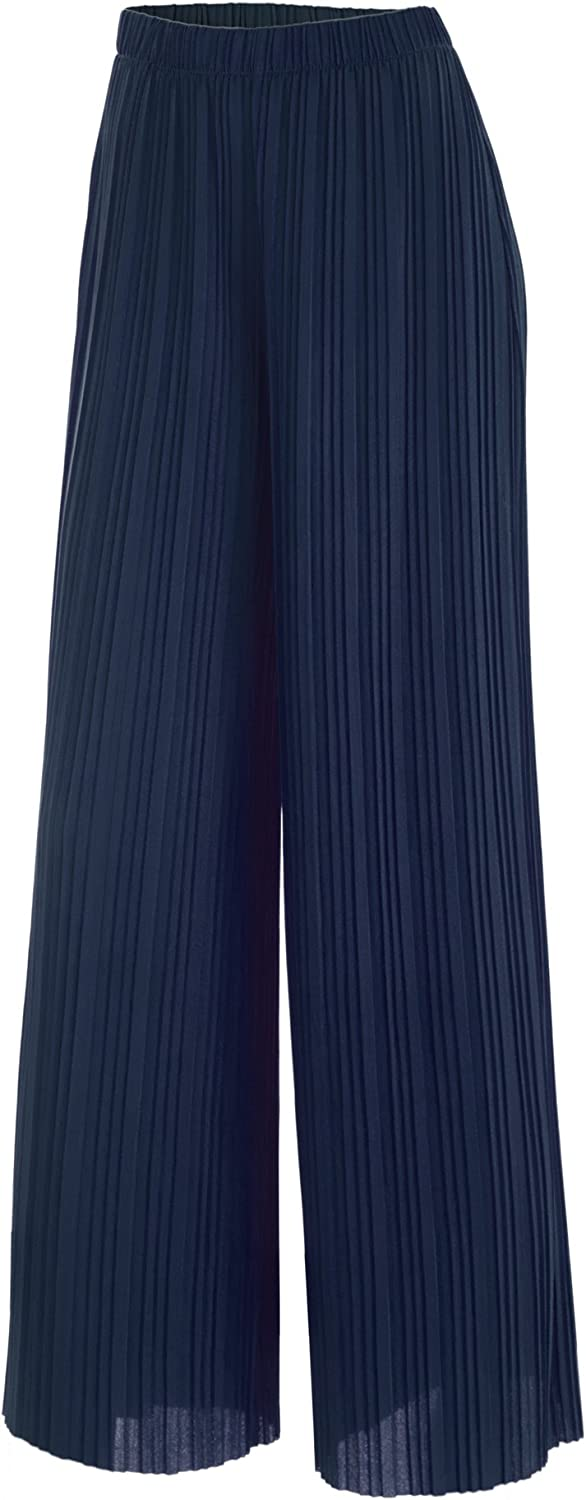 Lock and Love Women's Ankle/Maxi Pleated Wide Leg Palazzo Pants with Drawstring/Elastic Band