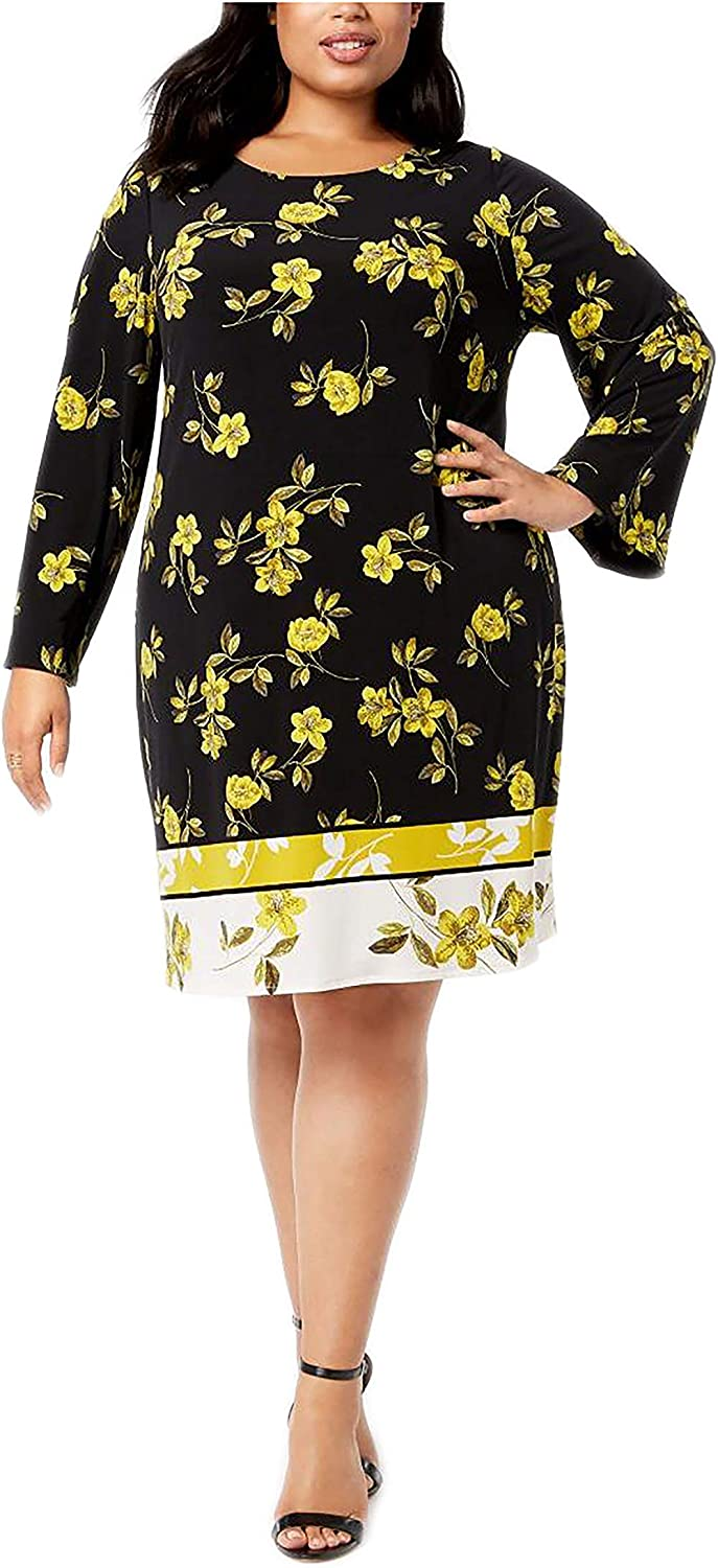 Alfani Macy's Womens Plus Golden Eclectic Floral Print Bell Sleeves Wear to Work Dress 22W