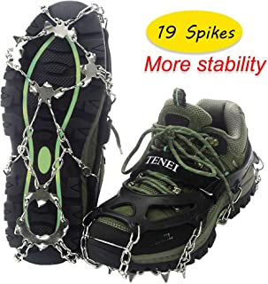 Crampons Microspikes Traction Cleats Ice Snow Grips Ice Cleats with 19 Spikes for Walking, Jogging, Climbing and Hiking on Snow, Ice, Mud, Sand and Wet Grass