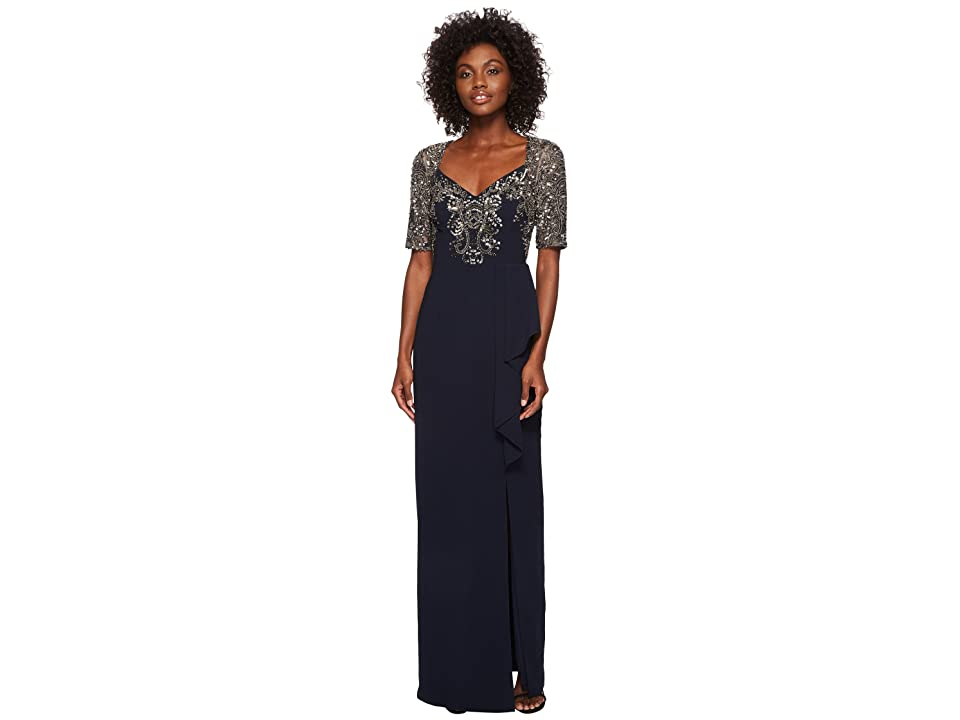 Adrianna Papell Elbow Sleeve Bead Bodice Gown with Cascade Crepe Skirt (Midnight) Women