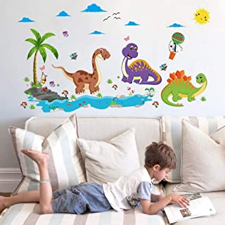 1 Pack Cartoon Dinosaur Paradise DIY Adhesive Wall Sticker for Kids Rooms Nursery Children Lotus Flowers Animals Dream Decal Girls Bedroom Bumper Decals Fiduciary Fashionable Vinyl Mural Art Decor