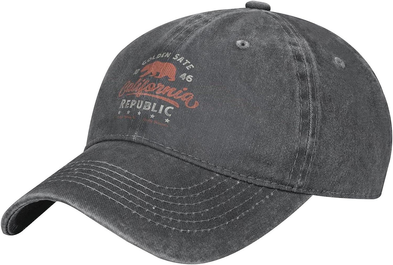 Golden State California Republic Cool Bear Unisex Adult Fashion Outdoor Cowboy Hat Adjustable Baseball Hat