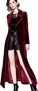 Womens Elegant Velvet Long Trench Coat Slim Fit Jacket Overcoat