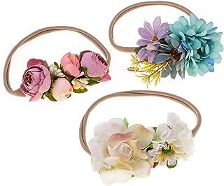 Love Sweety Baby Flower Crown Newborn Birthday Headband Floral Hair Wreath 3pc