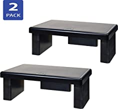 DAC STAX Computer Monitor Riser, Ultra-Sturdy Adjustable Desktop Monitor Stand, Supports up to 66 Pounds, Medium Size, 2-Pack, for Dual Monitor Setup