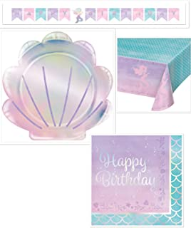 Olive Occasions Mermaid Happy Birthday Party Supplies Serves 16 Mermaid Shaped Plates, 16 Napkins, Table Cover, Banner, Grandma Olive's Recipe
