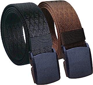 "Hoanan Mens Nylon Belt Tactical 2 Pack 28""-72"" Waist Big and Tall Casual Work No Metal Web Belt, 2pack-black Coffee, Pant ..."