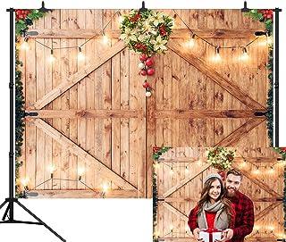 DePhoto Fotohintergrund aus Holz, 15,7 x 91,4 cm, Weihnachtsdekoration auf rustikaler Scheunentür, Fotohintergrund aus Holz, nahtloser Vinyl Fotohintergrund