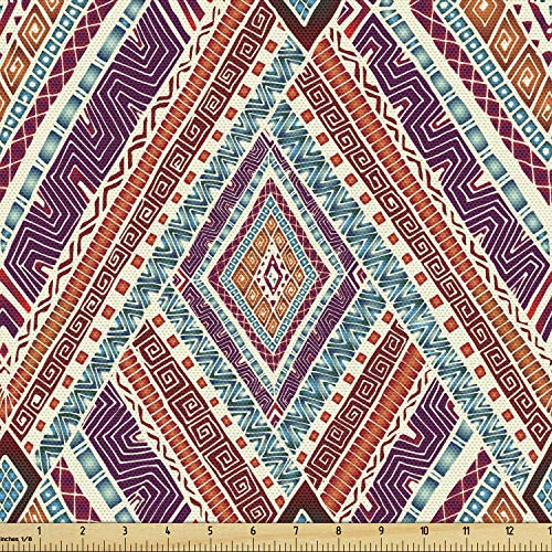 Ambesonne Tribal Fabric by The Yard, Retro Diagonal Ethno Pattern with Geometric Shapes Artwork, Decorative Fabric for Upholstery and Home Accents, 3 Yards, Purple Teal