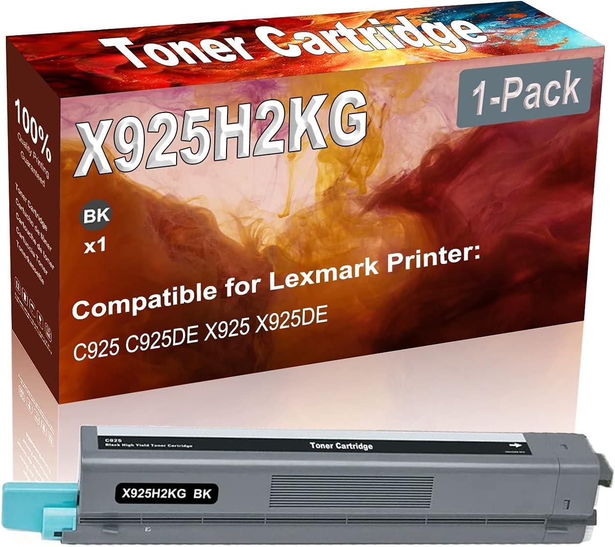 1-Pack (Black) Compatible C925 C925DE X925 X925DE Laser Toner Cartridge (High Capacity) Replacement for Lexmark X925H2KG Printer Toner Cartridge
