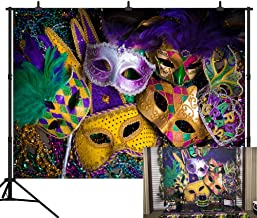 DePhoto 10X8FT(300X240CM) Carnival Mardi Gras Colorful Mask Poster Masquerade Seamless Vinyl Photography Backdrop Photo Background Studio Prop PGT140C