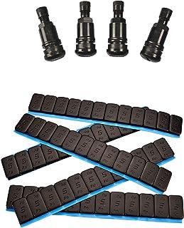 Haskyy 8 självhäftande vikter, balanseringsvikter 12 x 5 g + 4 metallventiler, stålventiler, svarta