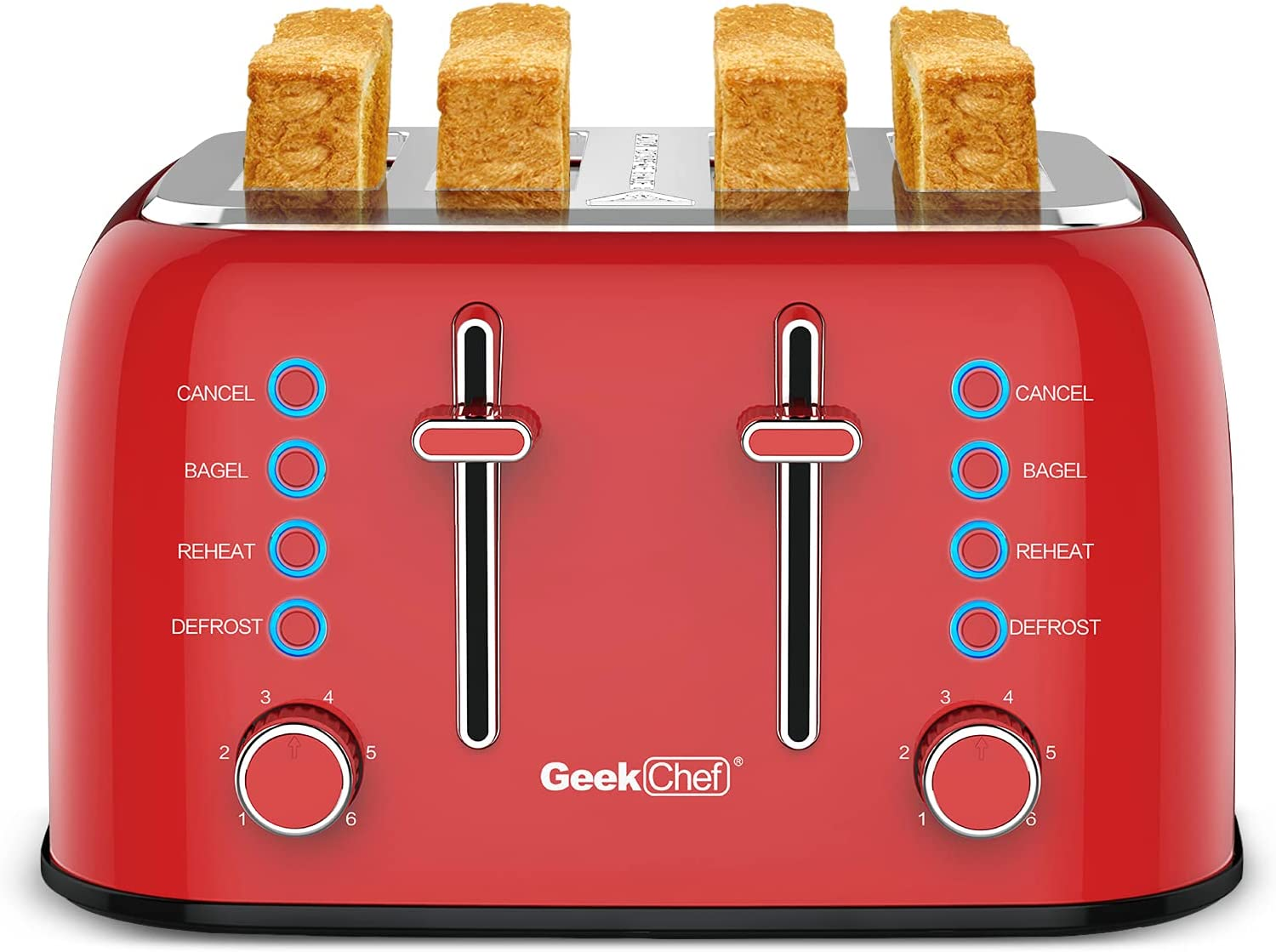 Toaster 4 Slice, Geek Chef Retro Stainless Steel Extra-Wide Slot Toaster, Bagel/Defrost/Cancel Function, 6-Shade Settings, High Lift Lever, Removable Crumb Trays