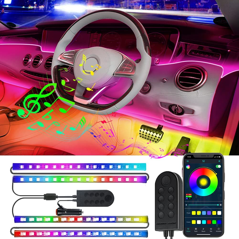 Max 54% OFF Bluetooth Max 89% OFF Interior Car Lights 4pcs LED Music Multicolor 60