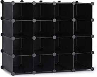 Puroma 16-Cube Stackable Shoe Organizer Plastic Shoe Storage Rack Durable Modular Shoe Cabinet, Space Saving for Closet Ha...