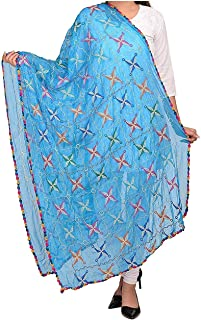Indian Dresses Store Generic Women's Chiffon Phulkari Dupattas Neck Scarf Fashionable Stole Turquoise