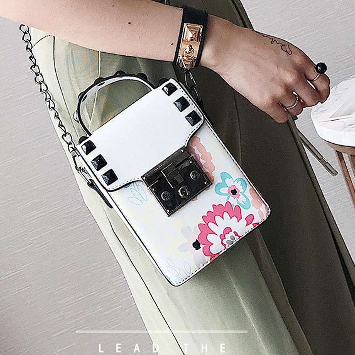 ガム道路大西洋女性印刷リベットチェーンショルダーバッグレディースキャンパススタイルクロスボディバッグ、ファッショントレンド新しいクロスボディバッグ、チェーンレディース小さなバッグ、プリントパターントレンド小さな財布 (白)