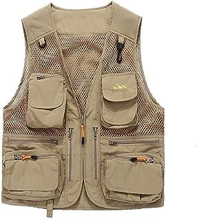 Men's Summer vest Men's Multi-Pocket Fishing Thin Outdoor vest Quick-Drying vest Breathable mesh vest (Color : Khaki, Size : 5XL)