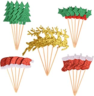 Topoox 50 Pack Christmas Cupcake Toppers Glitter Tree Reindeer Santa Hats Socks Holly Leaves Party Cake Pick Decorations