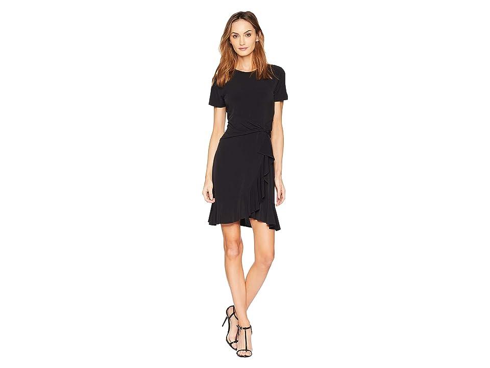 MICHAEL Michael Kors Short Sleeve Twist Waist Dress (Black) Women