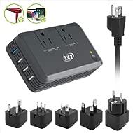 Key Power Step Down 220V to 110V Voltage Converter and International Travel Adapter, 100V to 240V...