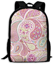 Backpack Hot Pink Paisley Big Student College High School Shoulder Bag Outdoor Canvas Backpacks