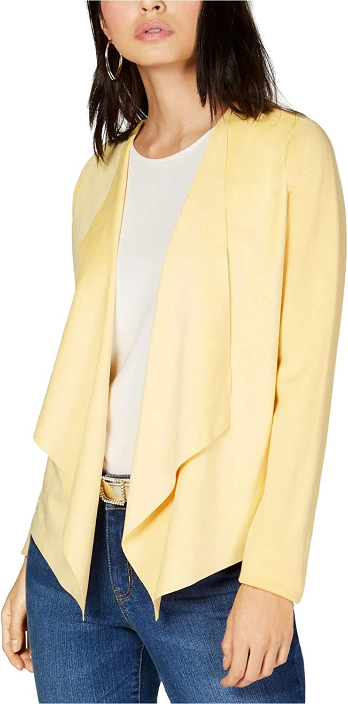 I-N-C Womens Moleskin Cardigan Sweater, Yellow, Medium