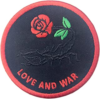 Patches Love and War Scorpion and Rose Applique Embroidered Iron On Sew On Emblem