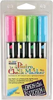 Uchida 483-4H Chisel Tip Bistro Chalk Marker Set, Fluorescent Colors