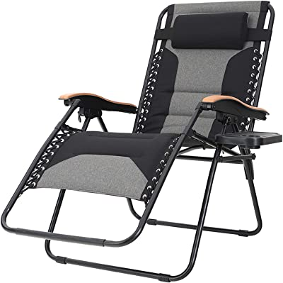 Sophia & William Padded Zero Gravity Chair Oversize Lounge Chair with Free Cup Holder, Supports 350 LBS (Black)