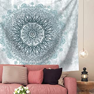 Indusleaf Psychedelic Mandala Tapestry Wall Hanging - Bohemian Living Room Wall Decor for Women Girls, Blue and Teal Boho Medallion Tapestry for Room