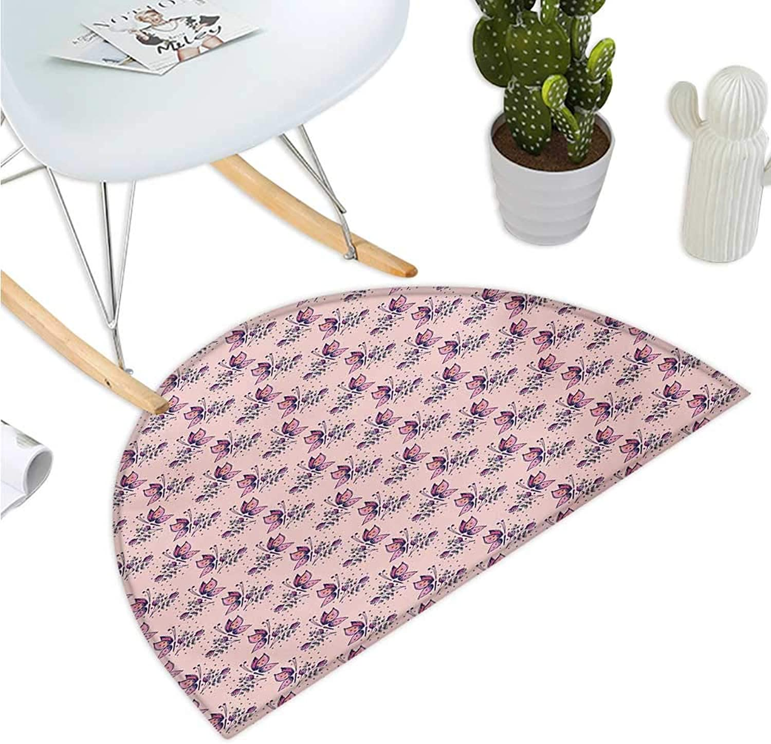 Spring Semicircular Cushion colorful Butterfly Petals Bouquet Vivid Inspirational Hand Drawn Print Entry Door Mat H 35.4  xD 53.1  Pale Pink Purple Salmon
