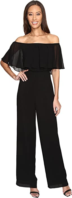 Chiffon Jumpsuit with Elastic Ruffle Neckline